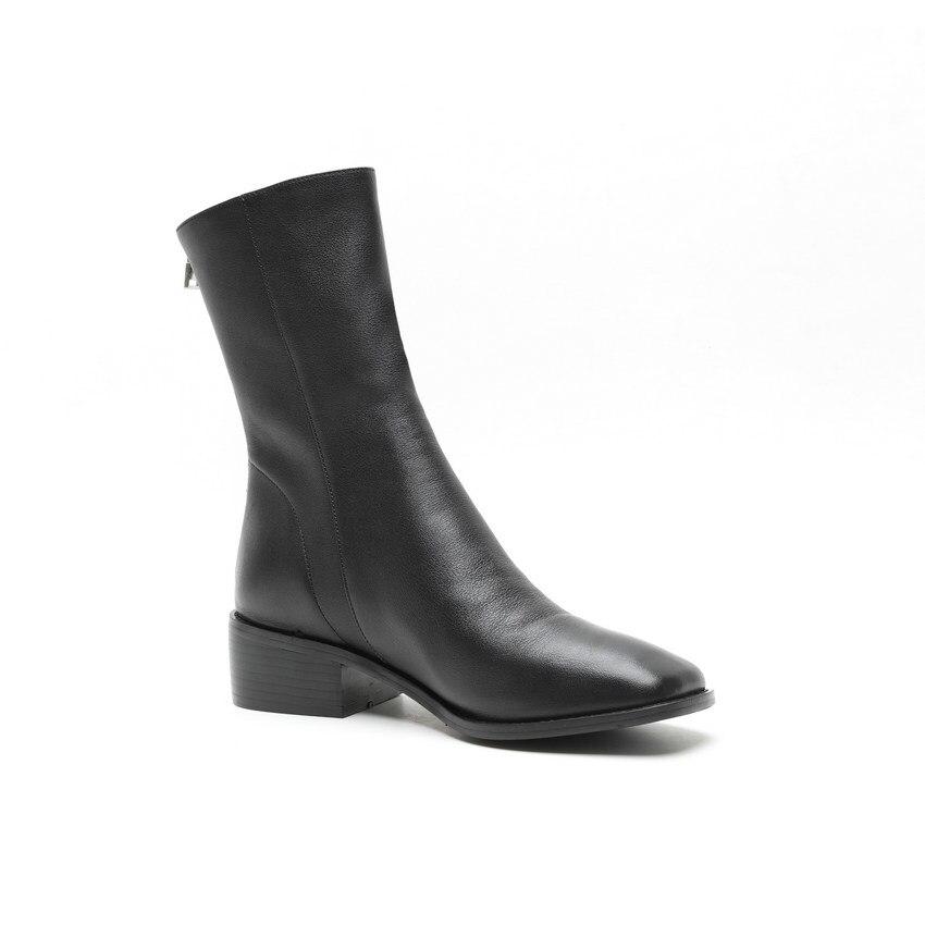 Hiver Carré Pu Elegat Femmes 34 Noir Cuir Vache Mi mollet Talon blanc Chaussures De Taille Nesimoo Mode En Haute Bout 43 2019 Bottes 0wOPk8n