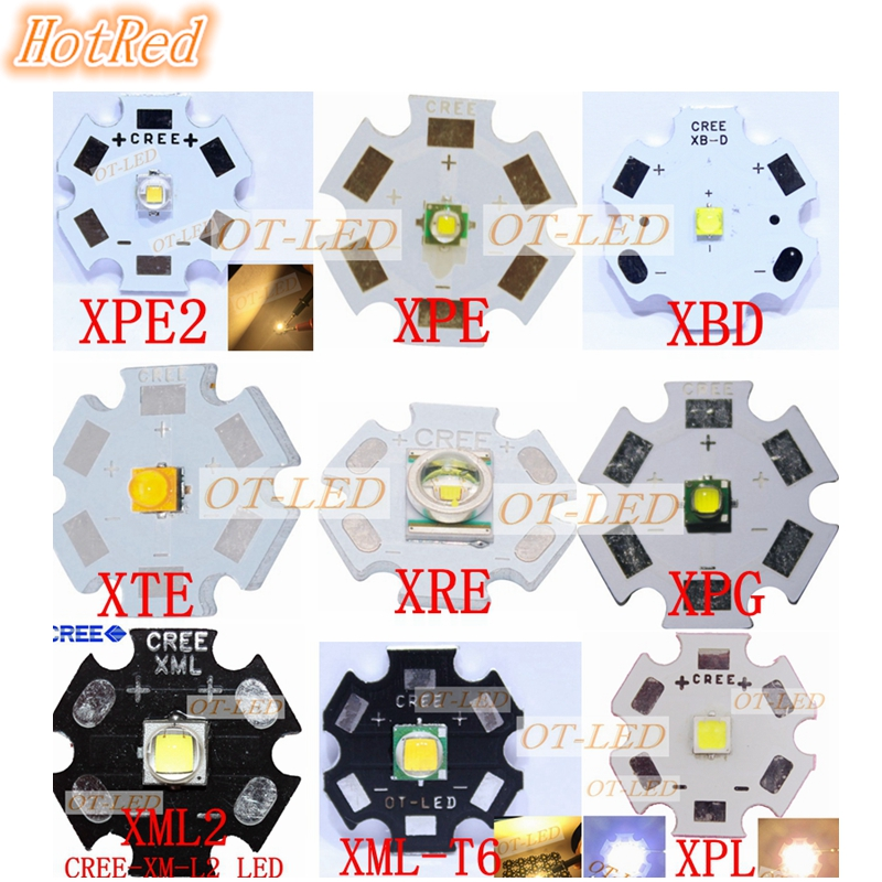 1pcs CREE XPG2 XML2 XM-L T6 XBD XM-L2 / XP-E R3 / XR-E Q5 / XP-G2 R5 / XT-E R5  LED Flashlight light Bulb Chip With 20mm Base xml xm l т6 1200 лм привел велоспорт велосипед велосипед передней фары новых фар