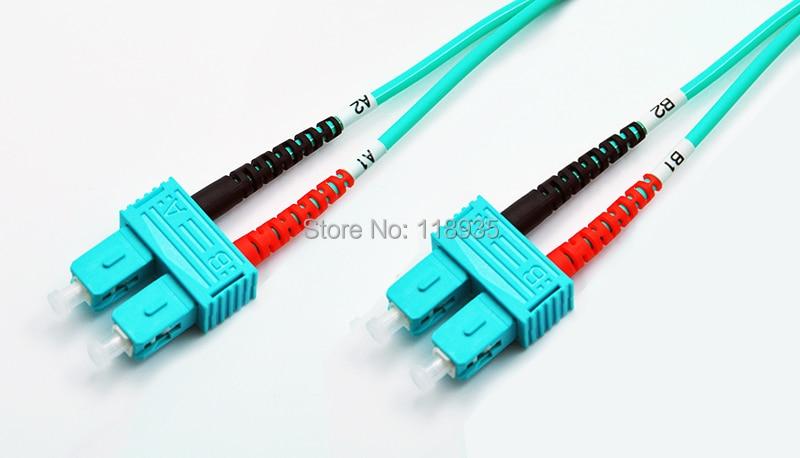 (2pcs/lot) SC-SC Multimode OM3 Fiber Optic Cable Patch Cord, Duplex, Color Aqua, 1m to 10m [sa]takenaka frs2053 fiber line genuine 2pcs lot