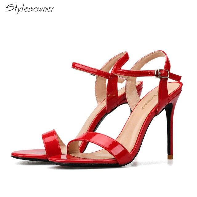 5974b1860 Stylesowner 2018 Verão Novo Designe Mulheres Fivela No Tornozelo Sapatos  Vermelhos Cor branca Grande Tamanho 45