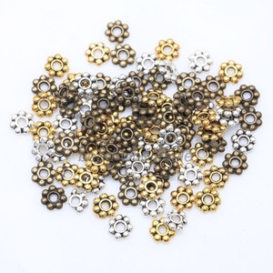 1000pcs Flower Spacer Beads for Jewelry Making Round Metal Daisy Wheel Charms 4mm Tibetan Gold Silver Bead Jewelry Accessaories