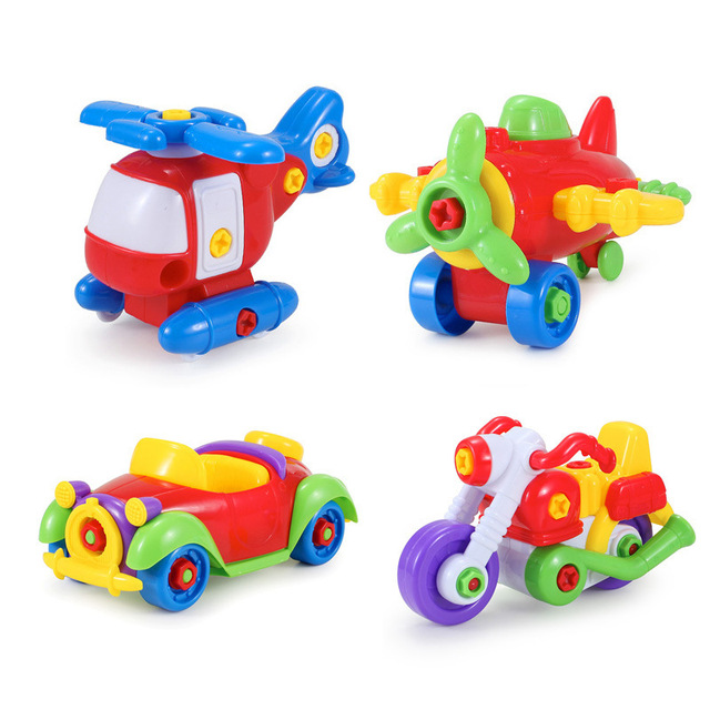 new kids car toys funny baby abs plastic car airplane motorcycle helicopter puzzle toy assembly children