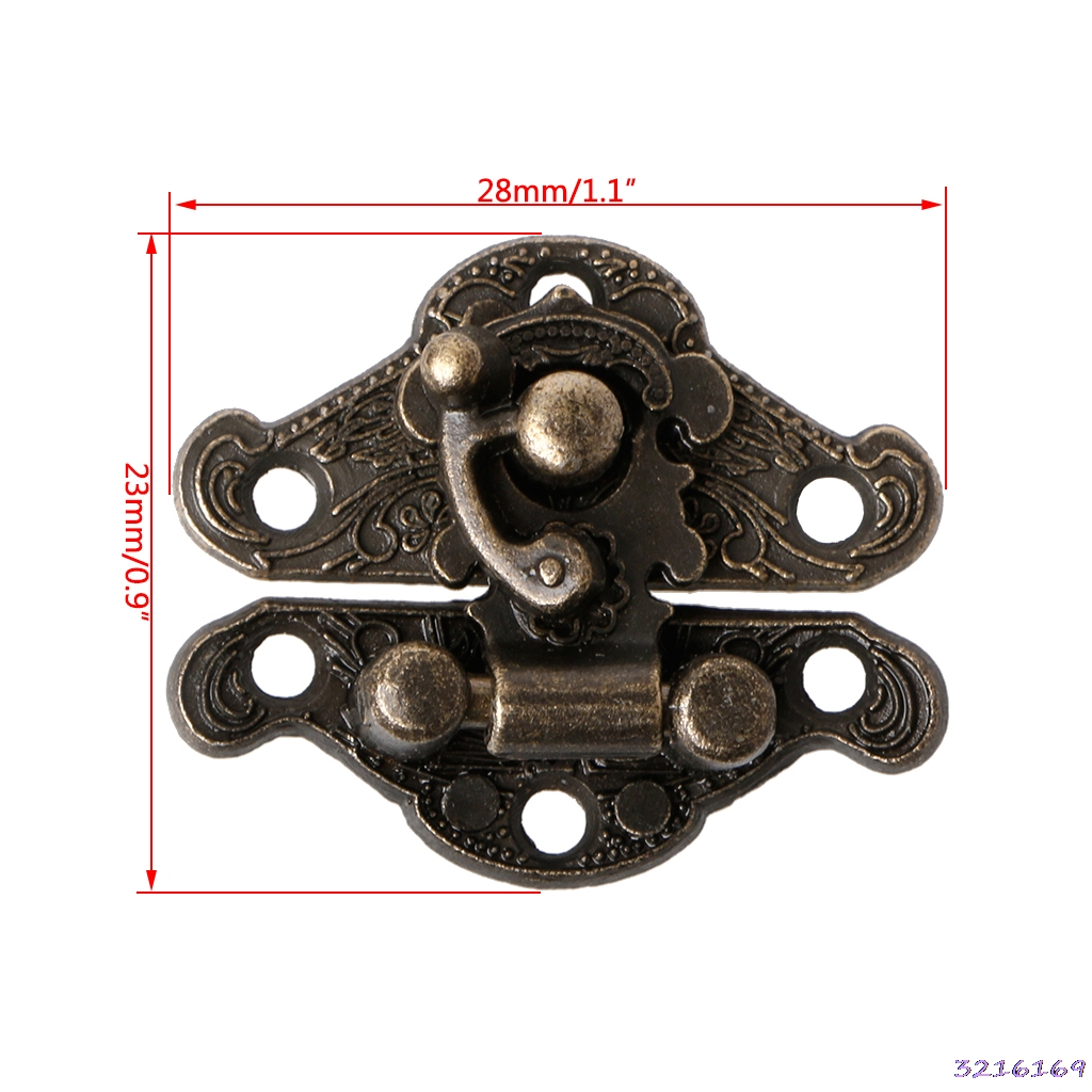Vintage Zinc Alloy Latch Hasp Pad Chest Lock Plate For Wood Jewelry Box Cabinet ...