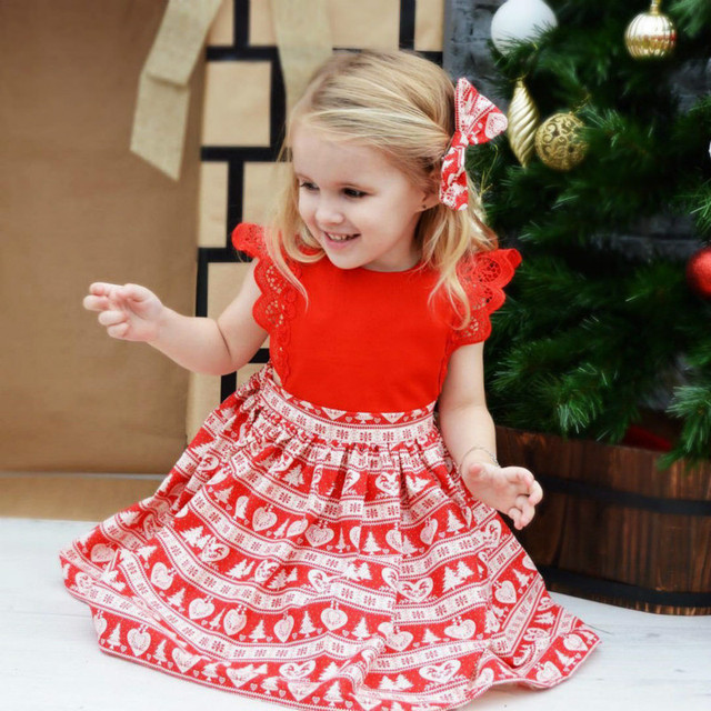 7963ecb3f Red Adorable Christmas Xmas Baby Girls Rompers Kids Lace Dress Girls  Christmas Party Dresses Family Matching Christmas Outfits