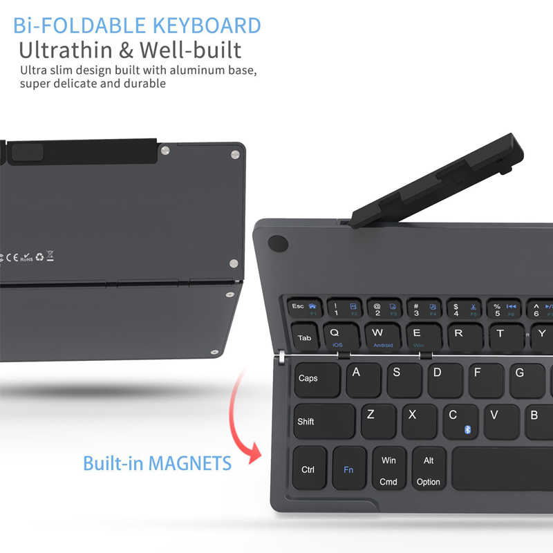 45f1606753b ... Landas Mini Pocket Folding Keyboard With Stand Hidden For iPhone Tablet  Foldable Bluetooth Keyboard With Stand ...
