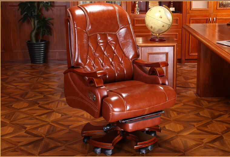 Leather Boss Chair Massage Reclining Office Chair Home Computer Chair Swivel Chair Leather Chair.