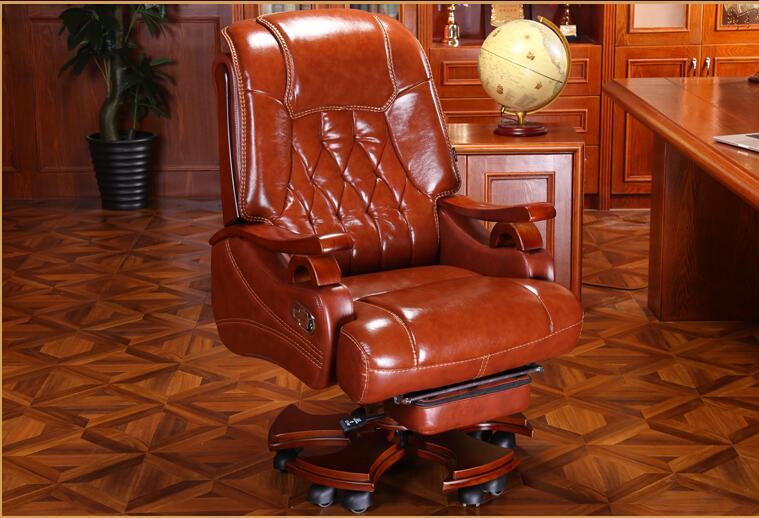 Leather Boss Chair Massage Reclining Office Chair Home Computer Chair Swivel Chair Leather Chair.