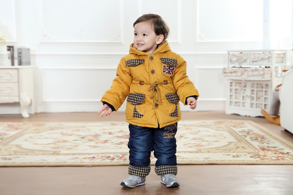 Anlencool-boys-cotton-suit-British-style-classic-lattice-models-baby-set-Padded-winter-clothes-suit-High-quality-baby-clothing-2