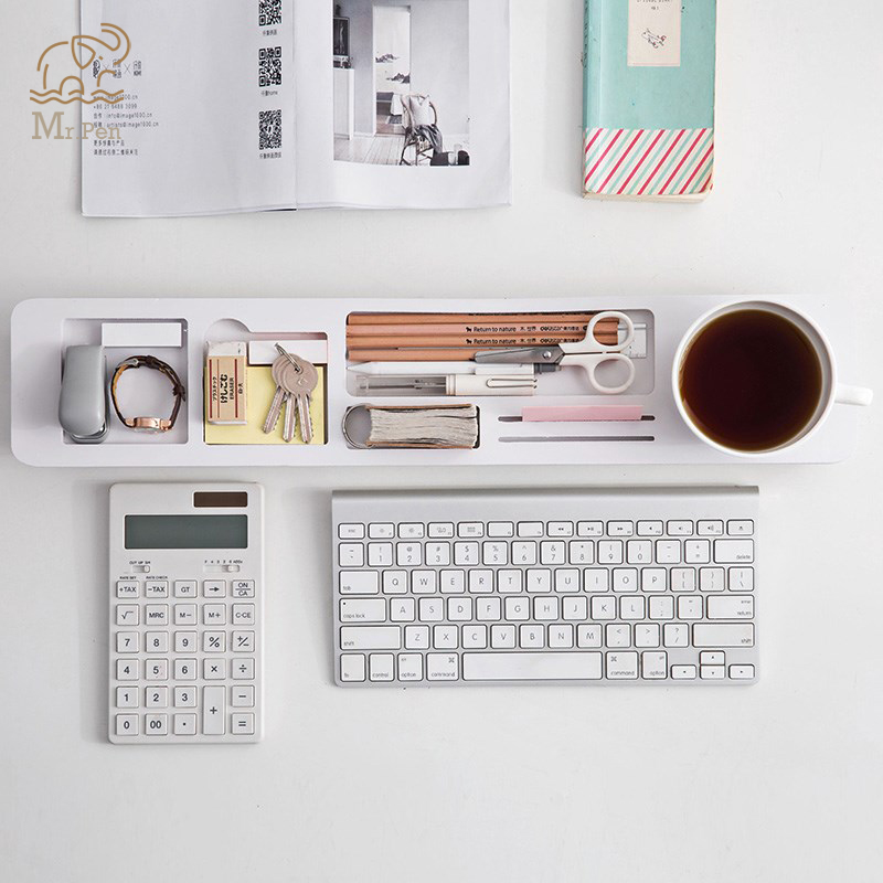 Home Office Desk Organizer Desktop Storage Holder Multifunction Keyboard Cover Office Accessories Sundries Shelf Pen Organizer