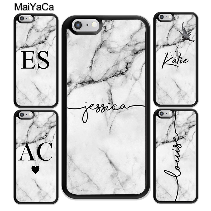 MaiYaCa PERSONALISED GREY MARBLE INITIALS NAME CUSTOM Phone Case For iPhone 6S 7 Plus 8 X XR XS MAX SE Soft Cell Housing Cover