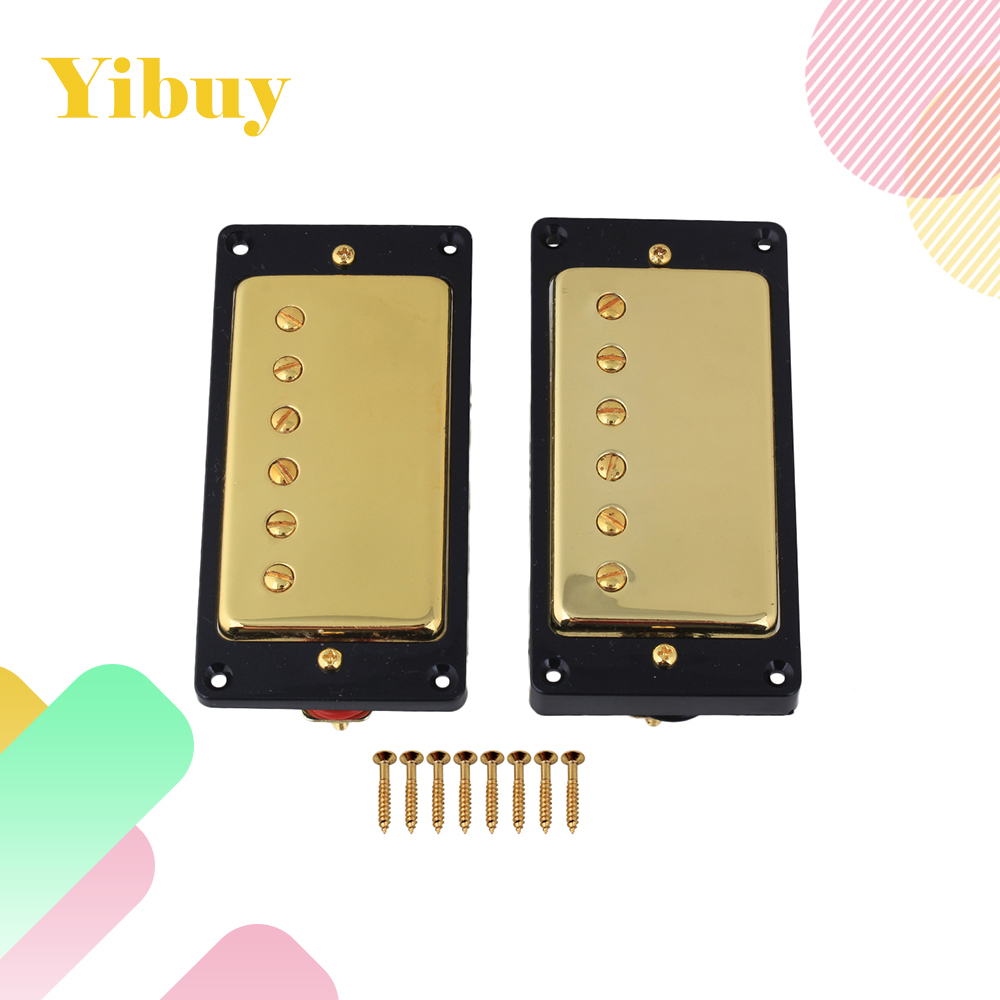 Yibuy Gold Double Coil Humbucker pickups Set for Electric Guitar Accessories kmise single coil pickup for electric guitar parts accessories bridge neck set black with chrome gold frame