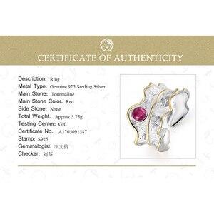 Image 5 - Lotus Spaß Echt 925 Sterling Silber Ring Natürliche Turmalin Edelsteine Feine Schmuck Einstellbare Pfingstrose Blatt Ringe für Frauen Bijoux