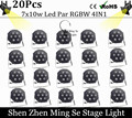 20pcs/lots 12w lamp beads 7x10W led Par lights RGBW 4in1 flat par led dmx512 disco lights professional stage dj equipment