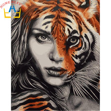 Canvas painting calligraphy diy oil picture by number hand painted acrylic drawing paint coloring by numbers tiger girl E674(China)