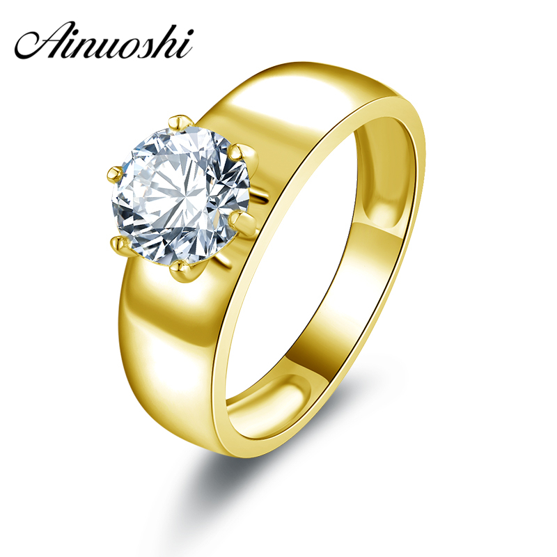 AINUOSHI 10k Solid Yellow Gold Women Engagement Ring Wide Fine Jewelry 1.25 Round Cut Solitaire Simulated Diamond Wedding RingsAINUOSHI 10k Solid Yellow Gold Women Engagement Ring Wide Fine Jewelry 1.25 Round Cut Solitaire Simulated Diamond Wedding Rings