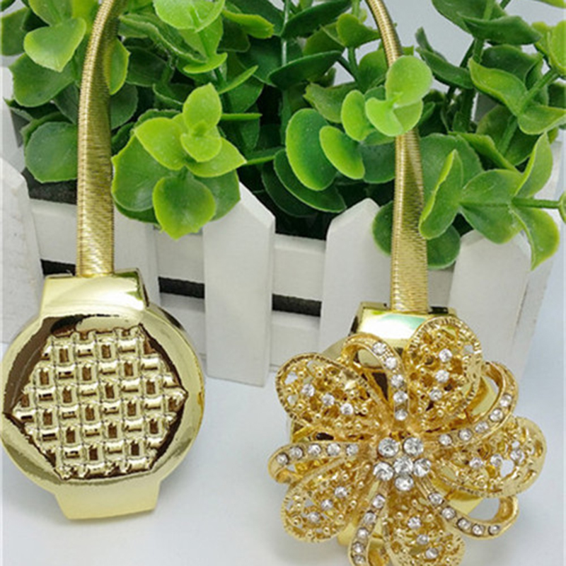 Hot New 1pc Gold Silver Flower Wire Curtains Tieback Magnet Curtains Buckle Magnetic Curtain Holder Curtain Strap Accessories