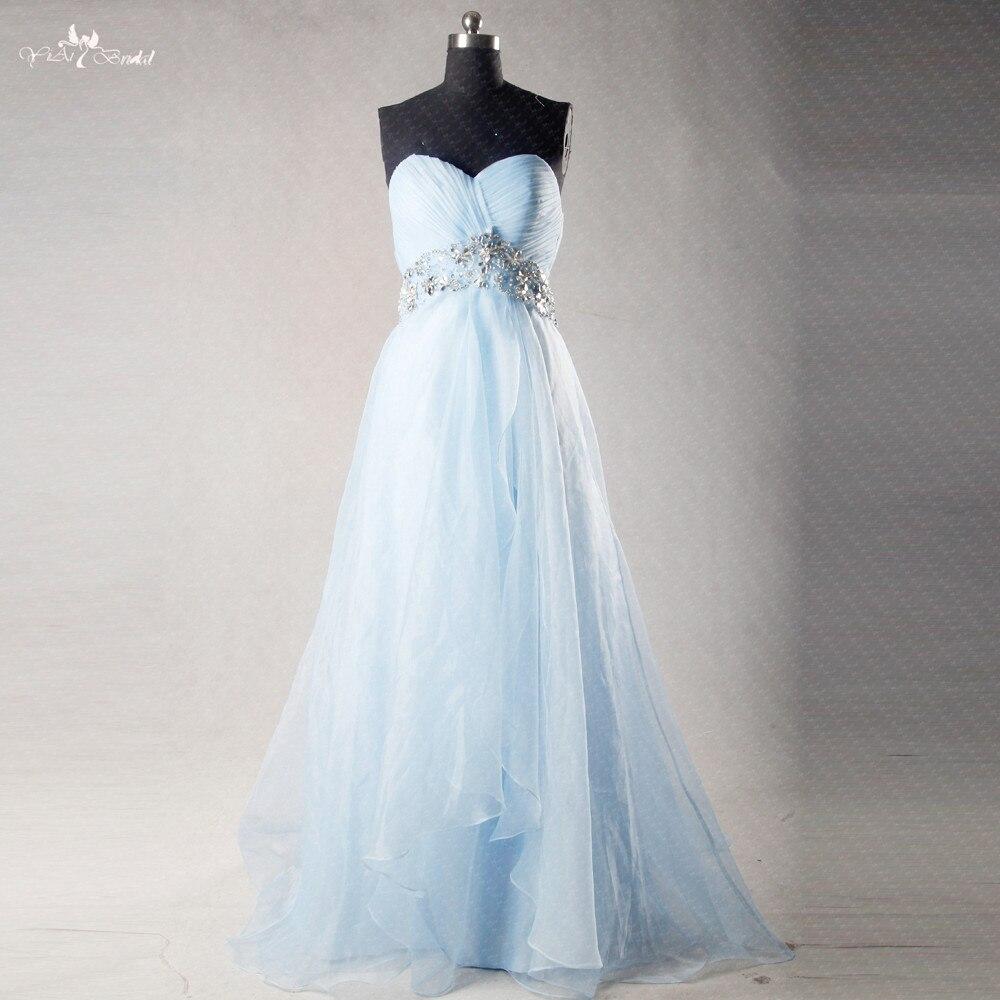 RSE269 Высокая Империя Waitline беременных трапециевидной формы органза длинное светло голубое платье для подружки невесты