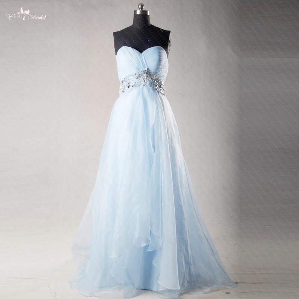 RSE269 High Empire Waitline Pregnant A-Line Organza Long Light Blue   Bridesmaid     Dresses