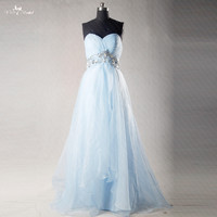 RSE269 High Empire Waitline Pregnant A Line Organza Long Light Blue Bridesmaid Dresses