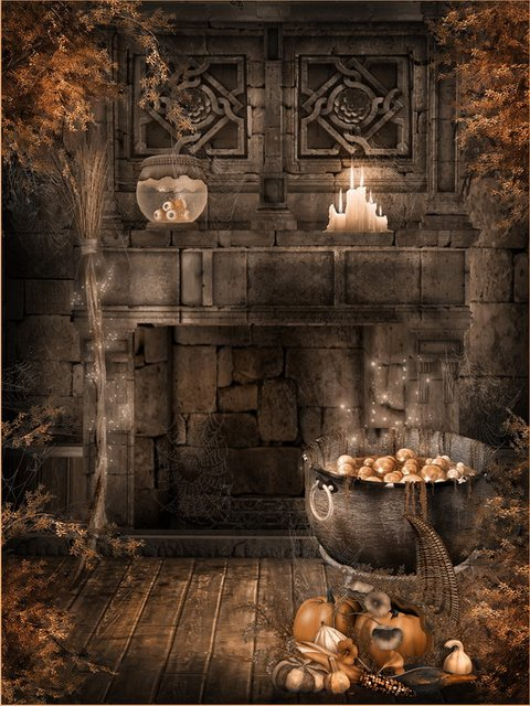 10x10FT Indoor Stone Wall Fireplace Spider Web Pumkin Halloween Custom Backdrops Photography Studio Backgrounds Vinyl 8x8 & 10x10FT Indoor Stone Wall Fireplace Spider Web Pumkin Halloween ...