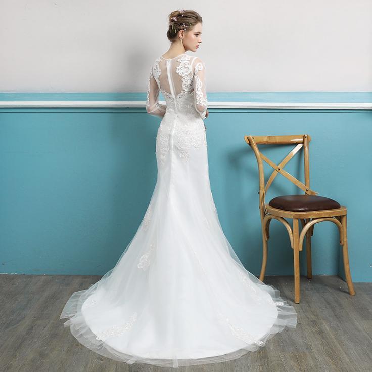 VENSANAC 2018 Lace Appliques Illusion Long Sleeve Mermaid Wedding Dresses Plus Size O Neck Sweep Train Bridal Gowns in Wedding Dresses from Weddings Events