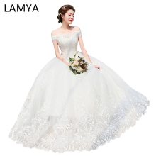 LAMYA Tulle Blanco Robe Mariage Wedding Dresses Lace Princess Elegant blanco Applique Brush Bridal Gowns
