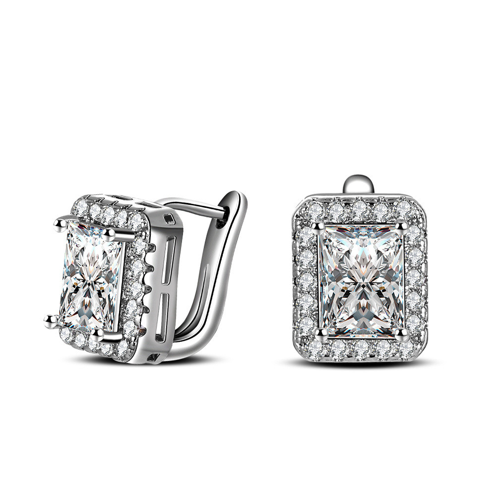 100% 925 Sterling Silver Jewelry Classic Super Flash Ear Buckle Silver Earrings Square Ear Clip Top Quality!! Free Shipping