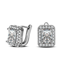 100 925 Sterling Silver Jewelry Classic Super Flash Ear Buckle Silver Earrings Square Ear Clip Top