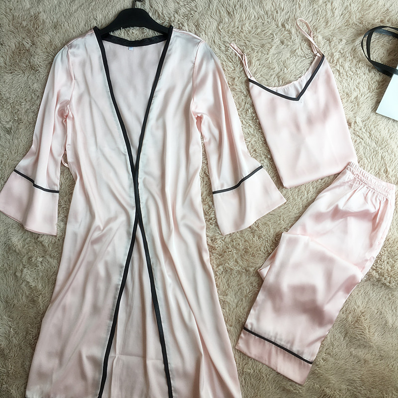 Women   Pajamas     Set   Silky Satin Sleepwear Suit 2019 Spring 3 Pieces Cami+Pants+Robe Female Home Wear Casual Home Wear Negligee