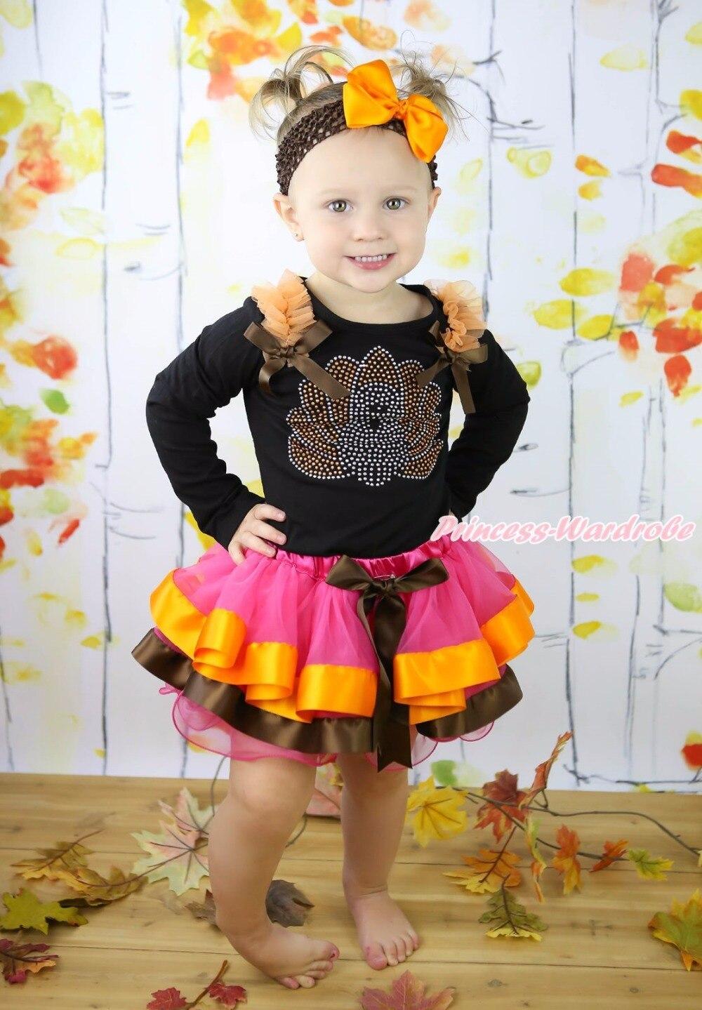 Thanksgiving Brown Bodysuit Girls Rhinestone Brown Bow Orange Hot Pink Brown Satin Trim Skirt halloween orange top ruffle bow pumpkin satin trim skirt girl outfit set nb 8y mapsa0866