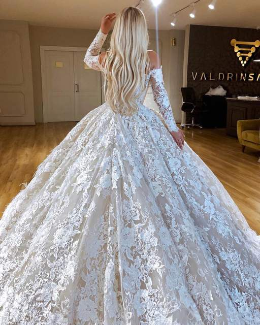 Online Shop Long Sleeve Lace Wedding Dress 2020 Puffy Ball Gown