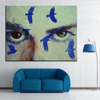 Hand Painted Oil Painting eyes crow Wall painting Home Decorative Wall Art Picture For Living Room painting No Frame