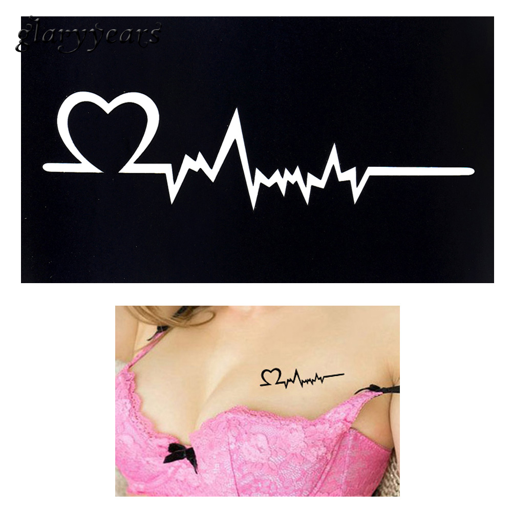 2019 1pc Henna Tattoo Stencil Women Body Art Paint Heart Electrocardiogram Pattern Drawing Small Henna Template Tattoo Paste G91