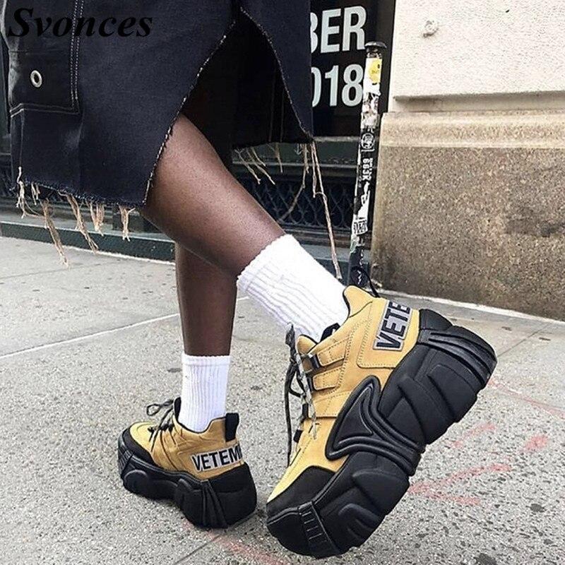 Caqui Nubuck zapatillas de plataforma de Super gruesa de la Plataforma de las mujeres zapatillas de deporte grueso suela de goma de las mujeres zapatos de Viaje Unisex parejas-in Zapatos vulcanizados de mujer from zapatos    1