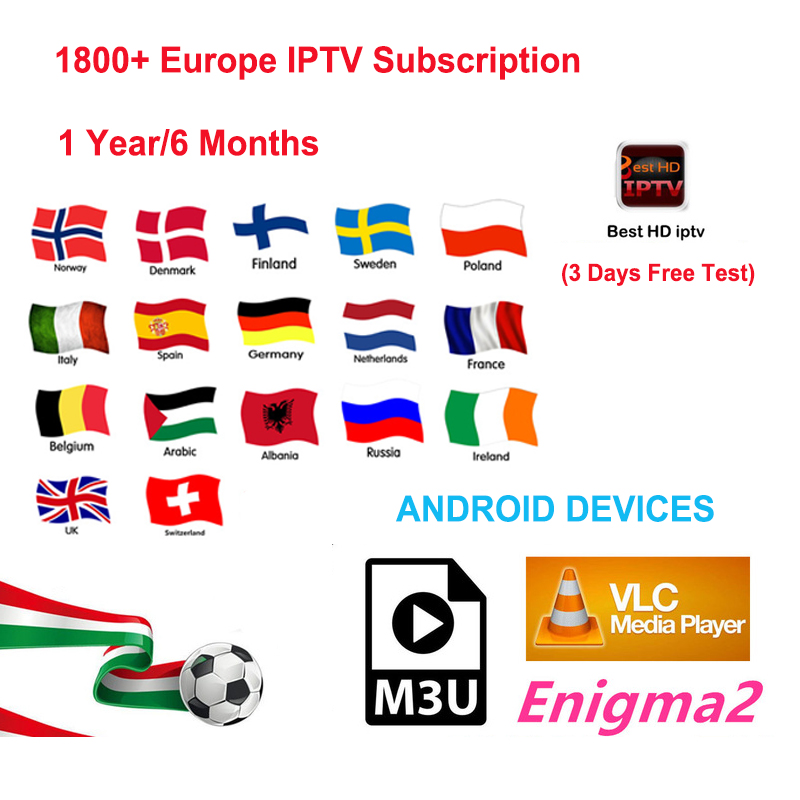 1 Year Europe IPTV subscription iptv italia brasil arabic 1800+ channels support android tv box/android phone/iptv m3u/mag 250