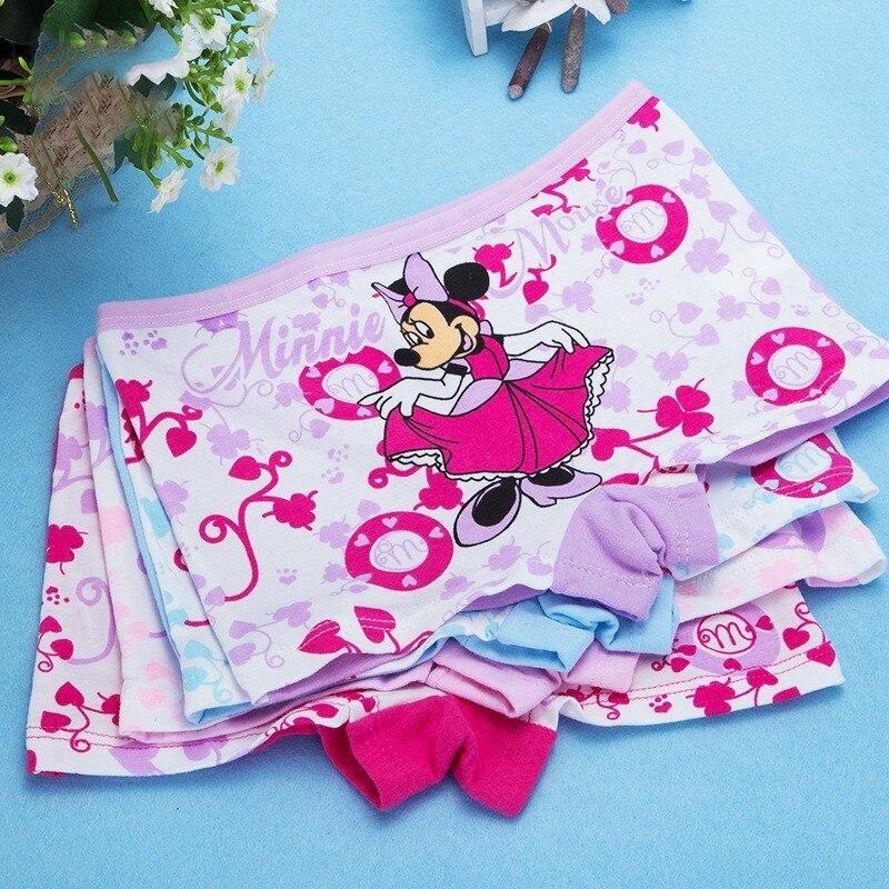 4 Pcs/lot Children's Cotton Kids Girl Underwear Female Cartoon Printed Baby Girls Underwear Boxer Briefs Panties Child Thong