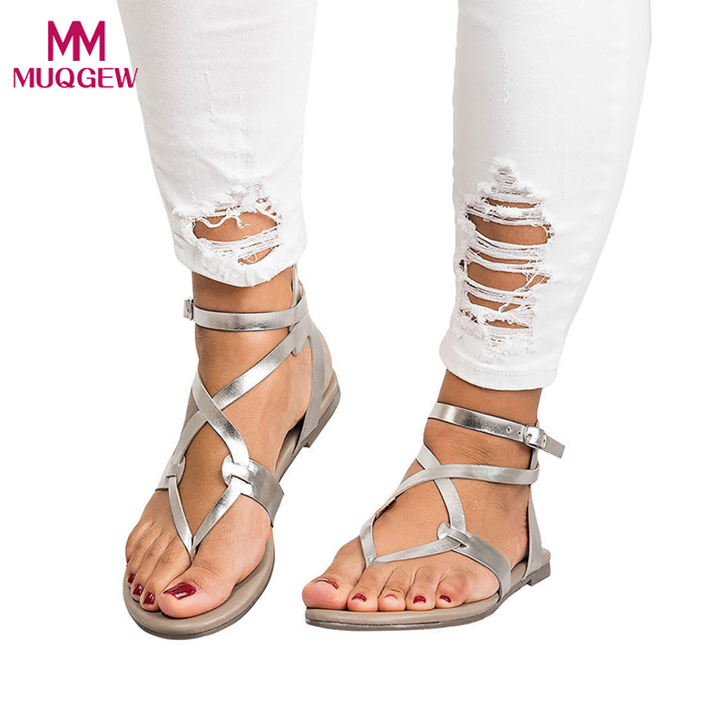 Summer Shoes Women Sandals Cross Strap Flat Ankle Roman Cusual Ladies Rome Buckle Casual zapatos mujer