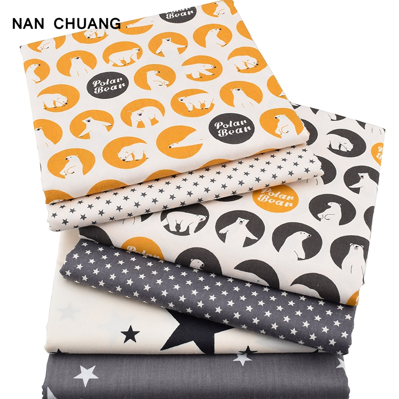 Nan Chuang 6Pcs/Lot Cartoon Bear Series Twill Fabric Tissule Cloth DIY Sewing Quilting Material Bundle For Baby&Children 40x50cm