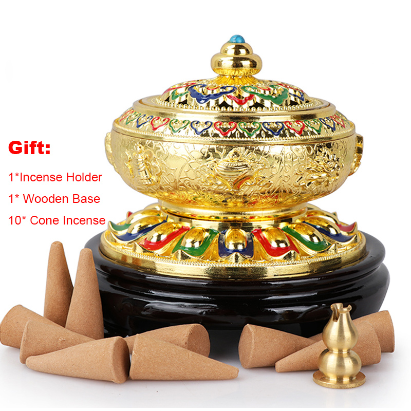 Zen Eight Auspicious Tibetan Incense Burner Coil Incense Aroma Censer with Copper Gourd Incense Holder Wood Base Home Arornament