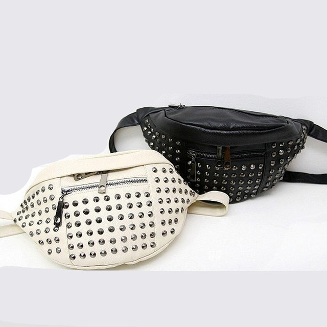 Free Shipping Fashion European Punk Style Women/Men's Shoulder Bags Waist Pack Daily Multifunction Rivets Waist Packs bag 2191
