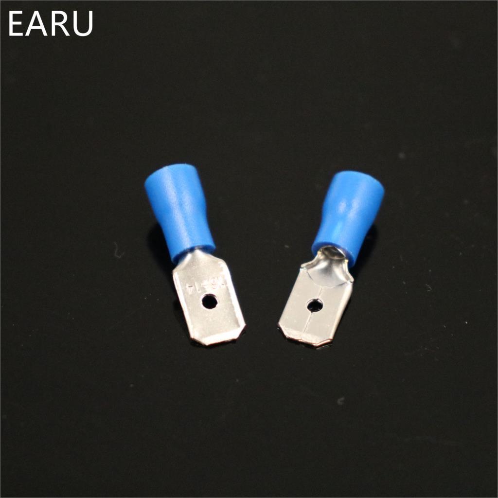 HTB19i9cih6I8KJjSszfq6yZVXXaz - 100pcs 50pairs 6.3mm 16-14AWG Female Male Electrical Wiring Connector Insulated Crimp Terminal Spade Blue FDFD2-250 MDD2-250