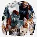 2016 primavera nova moda 3D bordado hoodies. Animal gato adorável padrão impresso camisola. Roupas sexy. Sportwear capuz Tops