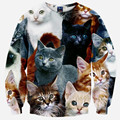 2016 primavera nueva moda jerséis con capucha 3d. Animal modelo del gato impresa encantadora sudadera. ropa sexy. Sportwear capucha Tops