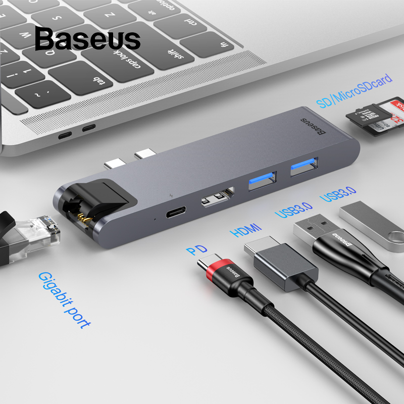 Baseus USB C HUB to HDMI RJ45 USB 3 0 for MacBook Pro Pc Accessories Type