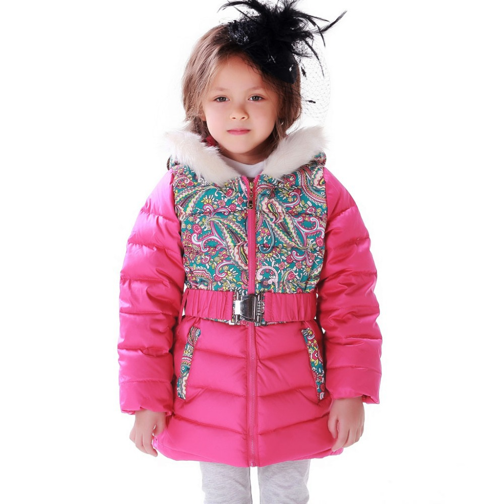 Free Shipping Girl Winter Down Jacket Kids Coat Girl Winter Outwear Printed Folk Russian Style Duck Down Parkas Patchwork