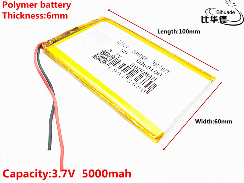Size <font><b>6060100</b></font> 3.7v 5000mAh li-ion Lipo cells Lithium Li-Po Polymer Rechargeable Battery For Tachograph Speaker Searchlight image