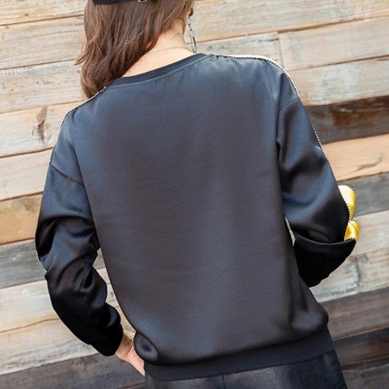 A Lunghe Delle Retro Maniche 2018 Donne Tees Superiori Il Nero Casuale Parti Camicia Allentato HqFxYwC8