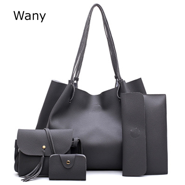 9524f4fa57 New Women composite bag Female handbag 4 pcs set fashion simple embossed all -match Shoulder Bags Messenger Bag Big Handbags