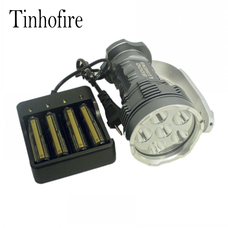 Tinhofire 8000 Lumens CREE XM-L 6x T6 LED Flashlight Torch Portable light Lamp XY-600 +4xbattery+4-slot charger tinhofire 6870 cree xm l 2 2000 lumens l2 led flashlight torch light lamp micro usb input 5v charger with battery