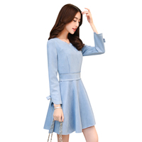 Spring Autumn Women Faux Suede Dress New Elegant Bow Mini Dresses Female Slim Empire Party Vestidos